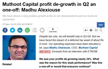 Muthoot Capital profit de-growth in Q2 an one-off: Madhu Alexiouse